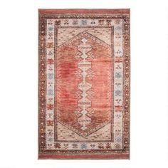 Printed in shades of terracotta, brown and beige, our Persian-inspired area rug is crafted of polyester and finished with a blanket-stitch edge. Big Rugs, Large Rugs, Scandinavian Style, World Market Store, Rug World, Affordable Rugs, Traditional Rugs, Rug Runner, Terracotta