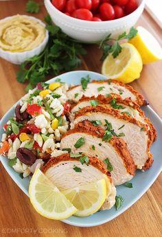 Baked Hummus-Crusted Lemon Chicken