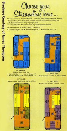 1969 Streamline Trailer Brochure page on floor plans and models, 19 - 25 ft