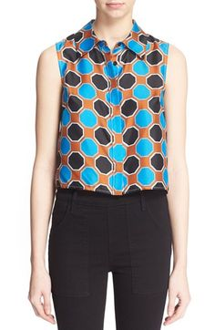 Milly Octagon Print Silk Sleeveless Shirt available at #Nordstrom