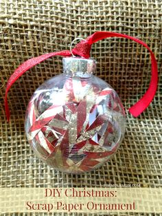 Make your own DIY Christmas Ornaments this year! This scrap paper ornament is an easy way to use your leftover scrapbook paper!