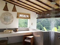 Bathroom with a view. Zenubud Villa, Ubud