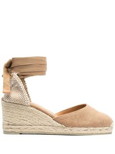 Neutrals straw wedge-heeled espadrille with ankle ties from CASTAÑER featuring woven raffia design, braided raffia wedge heel, tie-fastening ankle strap and round toe. Print On Paper Bags, Heeled Espadrilles, Fashion Capsule, Wedge Heels, Ankle Strap, Fashion Shoes, Summer Outfits, Women Wear, Wedges