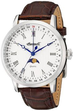 Ingersoll INQ027WHSL Men's Watch Moonphase Silver Dial Dial With Brown Leather Strap Oxford