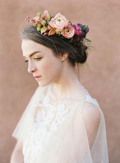 Pretty flower crown: http://www.stylemepretty.com/2015/06/10/southwestern-floral-inspiration-from-bows-arrows-workshop/ | Photography: Heather Hawkins - http://www.heatherhawkinsphoto.com/