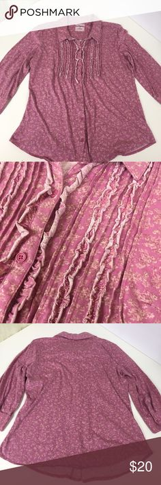 Pretty Pink Floral Ruff Hewn Soft Cotton Button Up Such a pretty top! Very soft and comfy as well, cute ruffle details on the front. Lightly worn, in good used condition. Ruff Hewn Tops Button Down Shirts