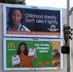 Ad Placement Fail - Obesity Awareness Ad beside a McDonalds Billboard.