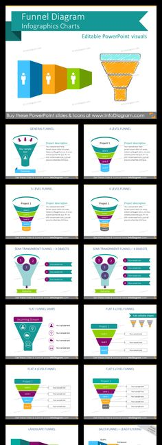 Infographics Funnel Diagram Pipeline Charts Set of diagrams for funnel infographics made in Powerpoint. Template with predesigned funnel diagrams for illustrating sales funnel processes selling pipelne digital marketing funnel any narrowing process extendable set of flat icon symbols for infographics fully editable style, size and colors