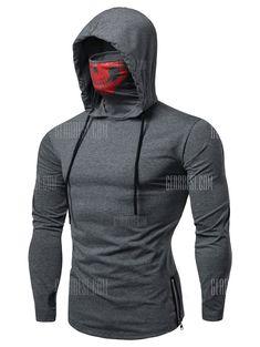 Drawstring Zipper Skull Mask Hoodie -  14.41 Free Shipping b6208edb536f