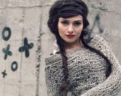 grunge womens fashion / sweater/ hipster clothing / avant garde sweater  / pastel grunge / grau taupe / oatmeal / march finds