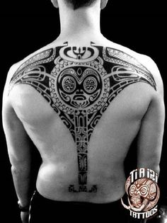 Polynesian Ray back tattoo #marquesantattoosblack