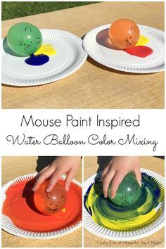 Mouse Paint: Water Balloon Painting. A fun, hands on color mixing activity to go along with the book Mouse Paint. Your Pre-K, Preschool, or Kindergarten kids will LOVE painting their mice!  - Pre-K Pages