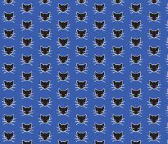 Black cat on blue fabric by heartyflower on Spoonflower - custom fabric
