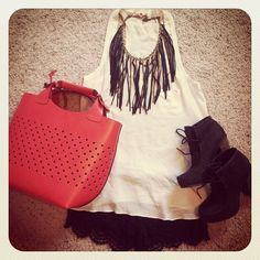Zara mini shopper bag. Fringe necklace. Lace shorts
