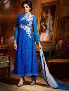 Blue Chiffon Suit With Resham Work www.saree.com