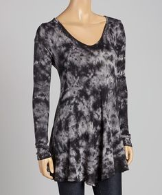 Look at this #zulilyfind! Pink Lotus Black Cloudy Tie-Dye Cutout Tunic by Pink Lotus #zulilyfinds