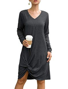 pitashe Womens T-Shirt Dress Gradient Color Cold Shoulder Tunic Top T-Shirt Swing Dress with Pockets Short Sleeve A-Line Summer Holiday Beach Mini Dress
