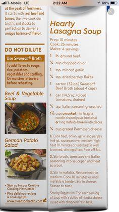 Swanson Broth, Low Sodium Recipes, Yummy Food, Delicious Recipes, Soups And Stews, Lasagna, Favorite Recipes, Beef, Lasagne