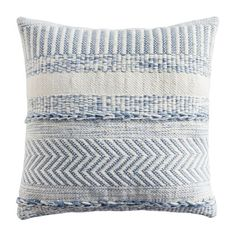 "Farmhouse Stripe 18"" Square Mineral Blue Pillow 