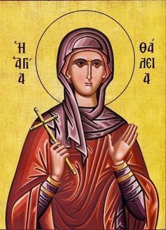 Orthodox icon of Saint Thalia. Commemorated September Saint Thalia is one of the 40 Virgin- Martyrs. Byzantine Icons, Byzantine Art, Greek Icons, Fortune Cards, Art Cart, Angel Pictures, Orthodox Christianity, Orthodox Icons, Portrait Inspiration