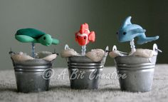 Bath Tub Toys Set of 3 - Polymer Clay Miniature Figures #dteam #Etsy