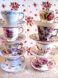 Teacup and Saucer lot Eight mismatched sets by littlecleoathome, $80.00