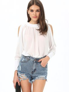 White Long Sleeve Off The Shoulder Buttons Blouse -SheIn(Sheinside) Cute Summer Outfits, Cool Outfits, Fashion Outfits, Womens Fashion, Sewing Blouses, Blouse Online, White Long Sleeve, Kimono, Ready To Wear