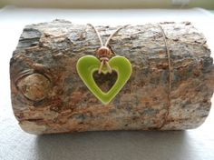 Green Heart shaped ceramic pendant ceramic heart by potteryhearts, $20.00