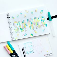 Learn how to create summer popsicle lettering with Adrienne from Watercolor Lettering, Brush Lettering, Water Brush Pen, Tombow Usa, Spiral Art, Bullet Journal 2020, Lettering Tutorial, Mechanical Pencils, Bullet Journal Inspiration