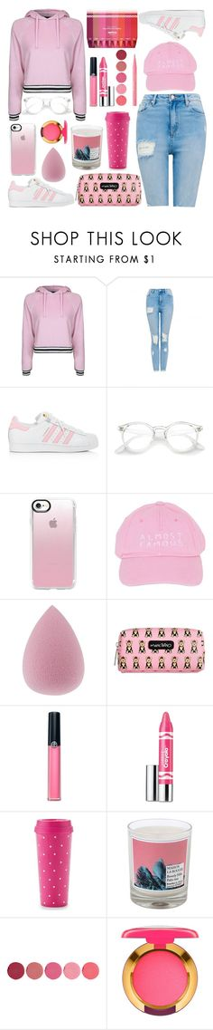 """PINKTONES."" by valemx ❤ liked on Polyvore featuring Topshop, adidas, Casetify, Nasaseasons, Marc Tetro, Clinique, Armani Beauty, Kate Spade, Maison La Bougie and Kjaer Weis"