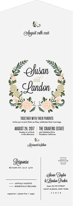 Laurel Crown Seal & Send Wedding Invitations