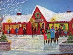 Vintage Christmas Card Mid Century Glitter Town People Family Shopping Caroling
