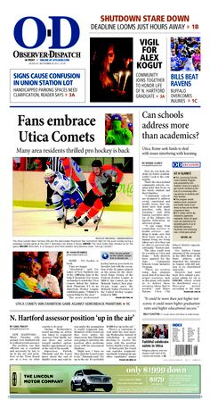 The front page for Monday, Sept. 30, 2013: Fans embrace Utica Comets