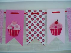 Cupcake Banner, Paper and Felt Garland, Felt Cupcake Bunting, Birthday Banner, Cupcakes, Hearts, Pink, Red