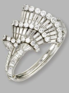 Platinum and diamond bangle bracelet, circa The hinged bangle set with round and baguette diamonds weighing a total of approximately carats, internal circumference The Bangles, Bangle Bracelets, Bangle Set, I Love Jewelry, Art Deco Jewelry, Fine Jewelry, Jewelry Design, Bling Bling, Antique Jewelry