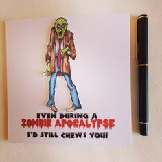 Valentines Day Card, Zombie Card, Funny Zombie Card on Etsy, £2.50