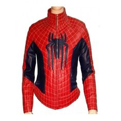 The Amazing Spider Man 2 Stylish Red leather Jacket ($129) via Polyvore featuring outerwear, jackets, leather jackets, 100 leather jacket, genuine leather jackets, real leather jackets and red jacket