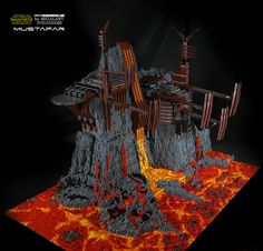 """The idea of this construction came to my mind after my other build - The Inferno. I wanted to master """" lava theme"""" and Mustafar was ideal scene for this.  .  Technical data:  width- 180 cm  deep-130cm  high-150cm  base 5x7 base plate  construction weight: 65 kg  number of parts -  60 000.  build time - 4 months"""