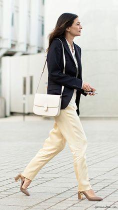black blazer, cream pants, heels, white purse / Garance Doré