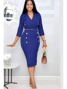 New Blue Sleeve Knee Length Notched Lapel Pencil Dress Fall Dresses, Cheap Dresses, Casual Dresses, Blue Dresses, Backless Maxi Dresses, Bodycon Dress, Sheath Dress, Corsage, Royal Blue Outfits