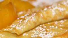 swedish pancake ***These sweet and fluffy crepes are a big hit in my home! I used whole wheat pastry flour and part almond milk and they turned out great. Swedish Pancakes, Pancakes And Waffles, German Pancakes, Crepe Recipes, Waffle Recipes, Swedish Recipes, Sweet Recipes, Breakfast Crepes, Morning Breakfast
