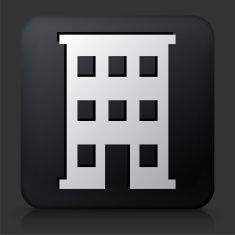 Black Square Button with Building Icon vector art illustration