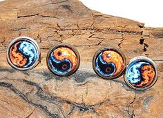 Fire and Water stud earrings jewelry Ying and Yang stud