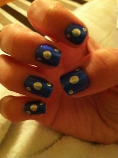 Blue with silver dots done with dotting tool.