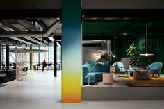 The student hotel in Amsterdam trendy interior/ gradation wall/