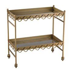 "Sterling Rectangular Quatrefoil Bar Cart 30""L x 16""W x 31""H"