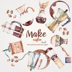 Make Coffee set, Sweets and Cups, Making Coffee Methods, Hand Painted, Watercolor Clipart, Greeting cards, Postcards, 27pcs, PNG files by ArtPavo on Etsy