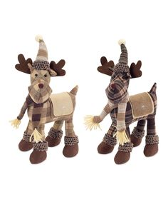 Another great find on #zulily! Plaid Moose Plush Décor - Set of Two by Melrose #zulilyfinds