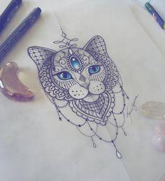 Gatinho da Ariane 💗 Equilíbrio, independência, sabedoria, dentre muitos outros significados maravilhosos! #desenho #drawing #cattattoo #mandala #tattoodesign #gato