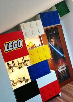 DIY / IKEA Hack - BESTA Lego Shelves - BESTA drawers - wooden coasters + paint makes a lego front!